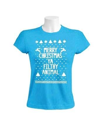 Green Turtle - Merry Christmas Ya Filthy Animal Women Aqua Blue XX-Large T-Shirt