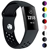 QIBOX Compatible with Charge 3 Bands, Sports Silicone Replacement Women Men Bands Breathable Soft Strap Bracelet Accessories Compatible Charge 3 SE Fitness Activity Tracker Small Large