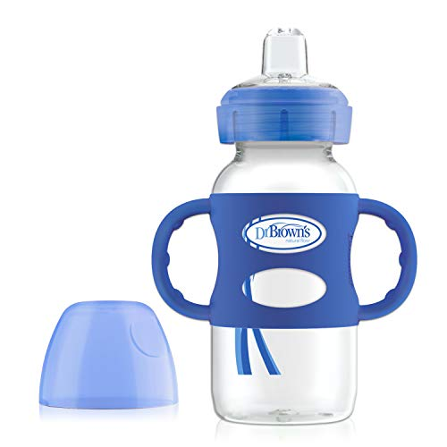 Dr. Brown's Options Wide-Neck Sippy Spout Baby Bottle with Silicone Handle, Blue, 9 Ounce