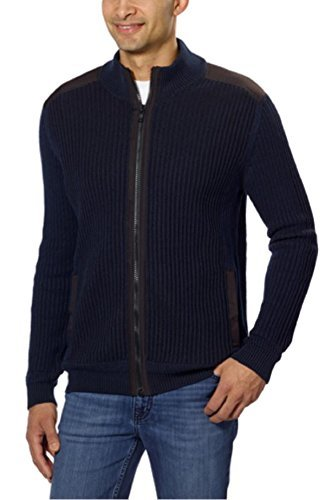 Calvin Klein Men's Fisherman Ribbed Knit Cotton Mock Neck Sweater Black Iris (M) Ribbed Woven Sweater