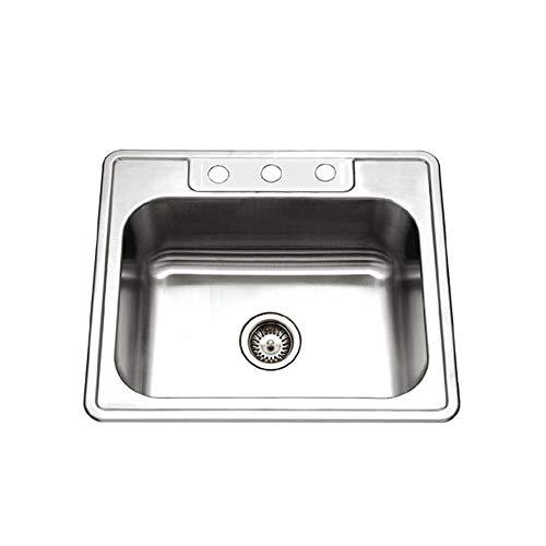 - Houzer 2522-9BS3-1 Glowtone Series Topmount Stainless Steel 3-hole Single Bowl Kitchen Sink, 9-Inch Deep (Renewed)