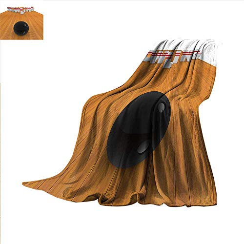smallbeefly Bowling Party Decorations Throw Blanket Bowling Alley with Skittles and Ball in Position Velvet Plush Throw Blanket 60