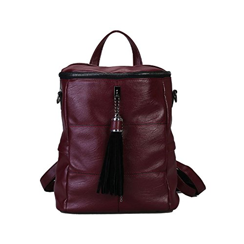 School Bag Washed Leather Rucksack Purse Red Shoulder Ladies Backpack Women qCxSwBS