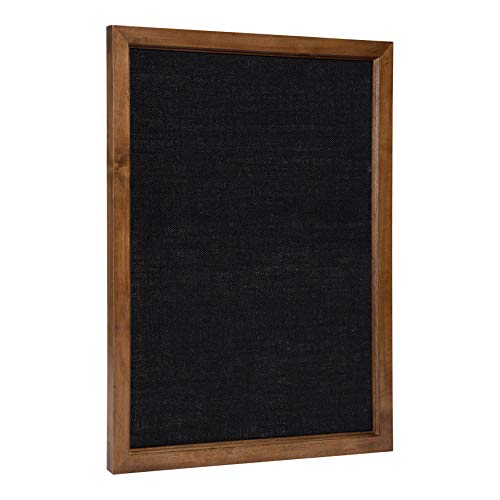 Kate and Laurel Hogan Transitional Wood Framed Fabric Pinboard, 20 x 26 Inches, Walnut Finish and Black Linen