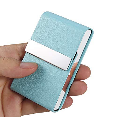 Business Card Holder Case – JuneLsy Professional PU Leather Business Card Case Metal Name Card Holder Pocket Business…