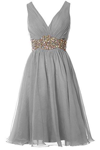 Gown V Straps Wedding Cocktail Short Neck Silber Prom Ball Dress Women Chiffon MACloth OPqU1n