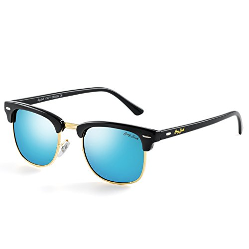 - GREY JACK Classic Polarized Half Frame Mirrored Sunglasses Fashion Eyeglasses for Men Women Black Frame Ice Blue Lens