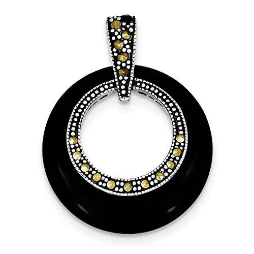 ICE CARATS 925 Sterling Silver Black Onyx Marcasite Circle Slide Chain Fine Jewelry Ideal Mothers Day Gifts For Mom Women Gift Set From (Black Onyx Sterling Silver Slide)
