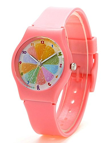 Zeiger New Cool Kids' KW021 Analog Display for Easy Read Time Teacher Young Girls Watch With Rainbow Dial Silicone Band (Pink)