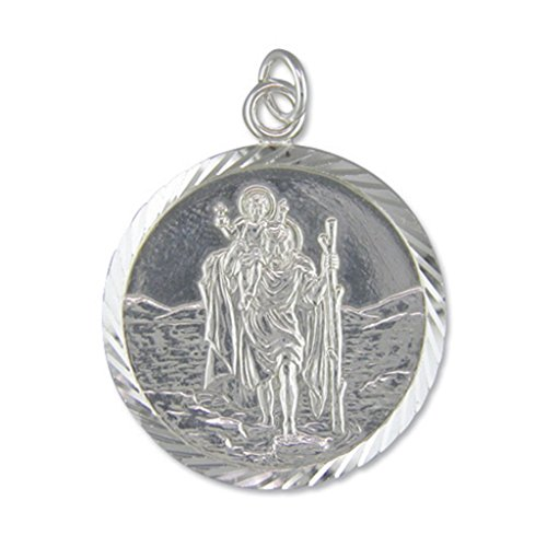 Mens sterling silver extra large diamond cut round st christopher mens sterling silver extra large diamond cut round st christopher pendant mozeypictures Image collections