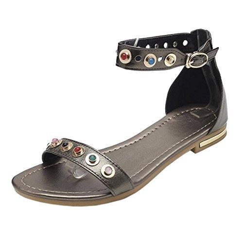 TAOFFEN Champagne Sandals 2 Ankle Women Strap OYqrwOzB