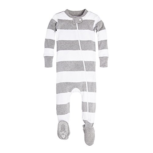 - Burt's Bees Baby Baby Unisex Pajamas, Zip-Front Non-Slip Footed Sleeper PJs, Organic Cotton, Heather Grey Rugby Stripe, 3-6 Months