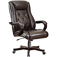 Inspired by Bassett Chapman Executive Chair with Thick Padded Espresso Eco Leather Seat and Back