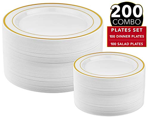 200 Piece Gold Plastic Plates - 100 Dinner Plates and 100 Salad Plates | Plastic Plates for Parties | Gold Plates | Party Plates | Wedding Plates | Disposable Plates for Party