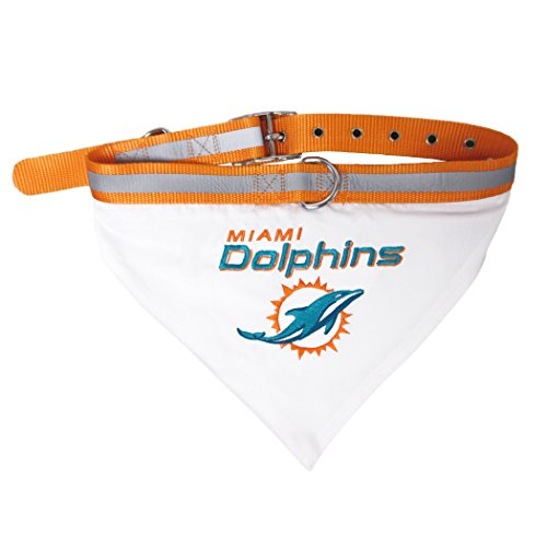 NFL BANDANA - MIAMI DOLPHINS PET BANDANA with Reflective & Adjustable PET COLLAR, Large