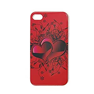 Water & Wood Red Heart Floral Print Plastic IMD Back Case for iPhone 4 4G