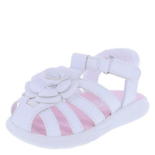 Toe Flower Girl (Teeny Toes Girls White Girls' Infant Gigi Flower Sandal 4 Wide)