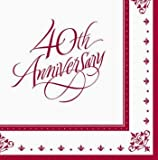 Ruby 40th Anniversary Message Lunch Napkins 36ct