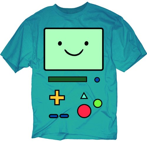 Adventure Time B-MO Beemo Face T-shirt (Extra Large, Teal)