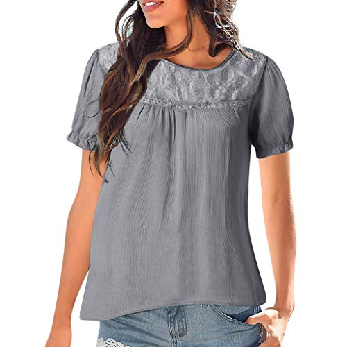 Wadonerful-women Casual Short-Sleeved T-Shirt Narrow-Sleeved lace Stitching Shirt Blouse Light-Colored Solid Color Loose top Gray