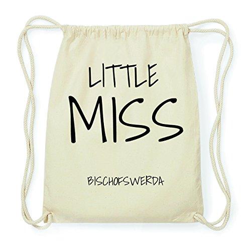 JOllify BISCHOFSWERDA Hipster Turnbeutel Tasche Rucksack aus Baumwolle - Farbe: natur Design: Little Miss t9EYd