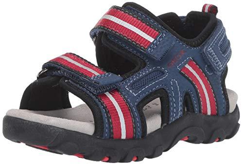 Geox Boys' Strada 17 Play Velcro Sandal Sport, Blue/red 34 Medium EU Little Kid (3 US)