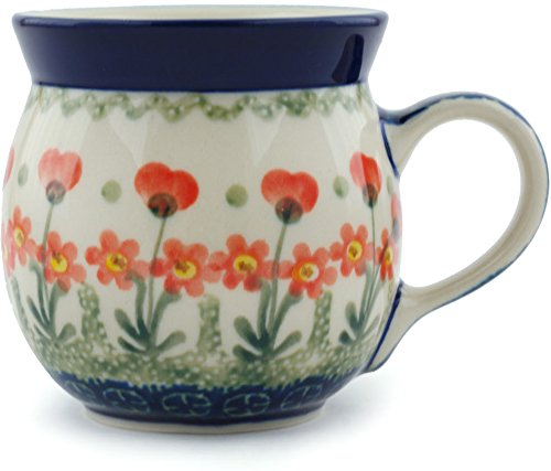 Polish Pottery Bubble Mug 8 oz Peach Spring Daisy