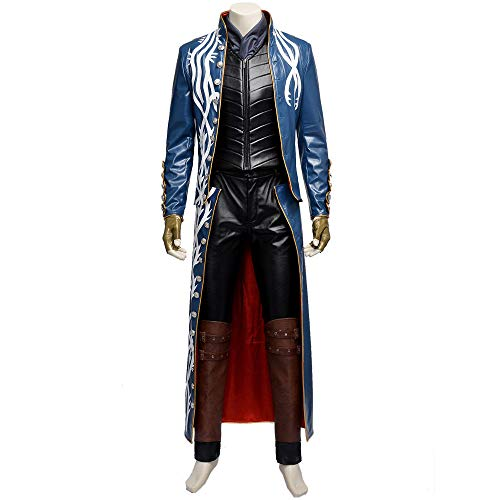 Costory Devil May Cry 3 Vergil Cosplay Costume Leather Outfit Custom Made Halloween -
