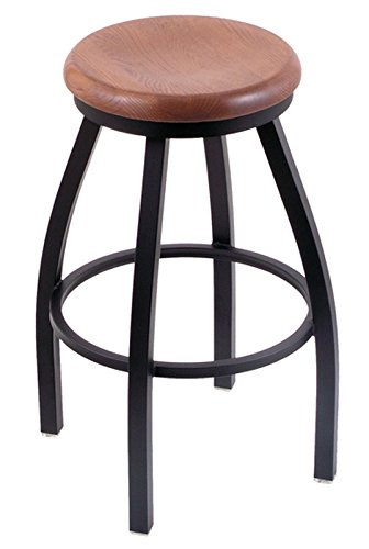 Holland Bar Stool Co. XL 802 Misha Black Wrinkle Swivel Bar Stool, Medium Oak