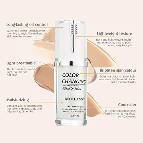 Liquid Foundation Cream, Concealer Cover Cream, BB Cream, Flawless Colour Changing Foundation Makeup Base Nude Face Liquid Cover Concealer, Universal for ALL Skin Types, SPF 15 Shell, 1.41 Fl Oz