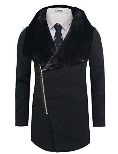 Fur Peacoat (Tom's Ware Men's Stylish Wool Blend Pea Coat TWCC05LQ-C11-BLACK-US XL)