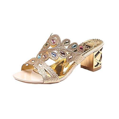 SANFASHION Große Förderung Sommer Mode Frauen Mädchen Große Strass Heel Sandaletten Damen Funkelnden Slipper Gold