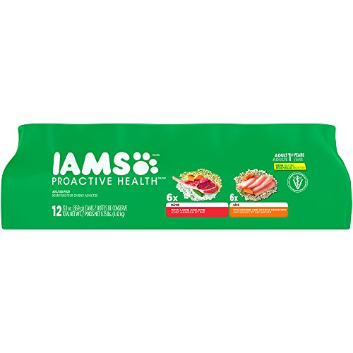 Iams Proactive Health Adult Multipack With Chicken And Whole Grain Rice Pate And With Lamb And Rice Pate Wet Dog Food 13.0 Ounces (Pack Of 12)