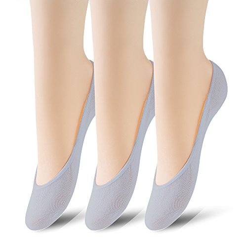 3 Pairs No Show Socks Women No Show Liner Socks Womens No Show Socks Thin Low Cut Casual Socks Non Slip(Grey 3pack)