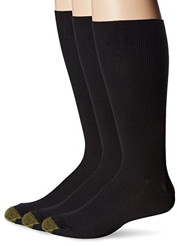 Gold Toe Men's Metropolitan Midcalf Sock, 3 Pack, Black, 10-13 (Shoe Size 6-12.5)