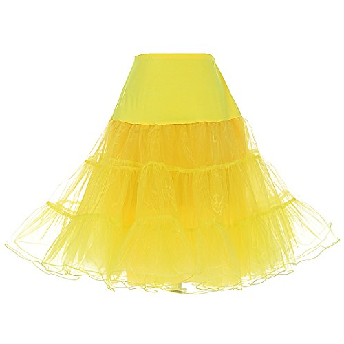 Dresstells Women's Vintage Rockabilly Petticoat Skirt Tutu 1950s Underskirt yellow M]()