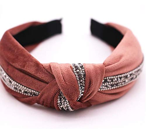 New Fall Winter Vintage Velvet Hairband Center Knotted Rhinestone Headband Customized Hair Accessories Pink