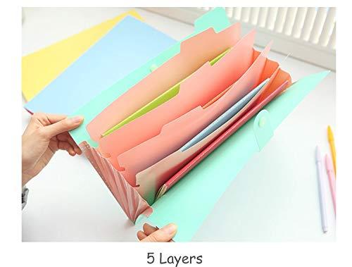 Amazon.com : Standard File Folders A4 Kawaii Carpetas Smile Waterproof Carpeta File Folder 5 Layers Archivadores Anillas Document Bag Office Stationery ...