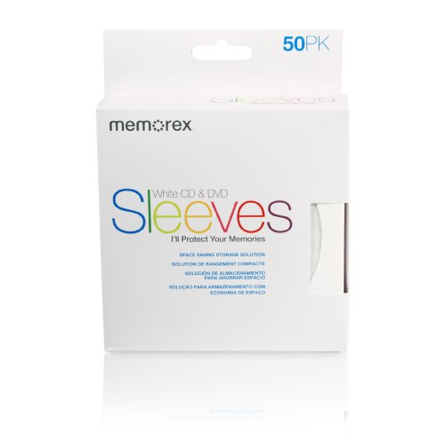 Memorex CD/DVD Sleeves Paper with Window Cut-OutandBack Flap 50-Pack