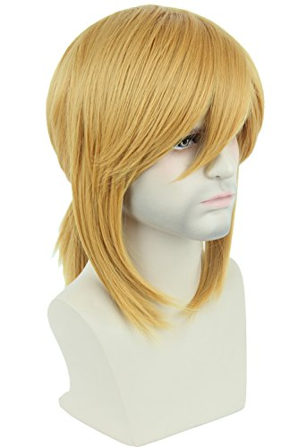 (Topcosplay Blonde Wig Short Side Bangs with Braid Cosplay Halloween Costume Wigs for Men or)