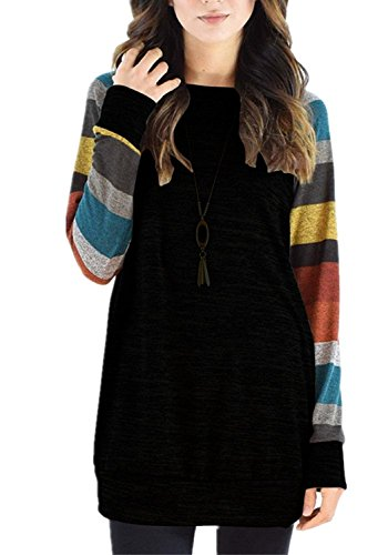 Fantastic Zone Women's Cotton Knitted Long Sleeve Lightweight Tunic Sweatshirt Tops for Women Black Yellow