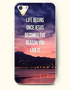 iPhone 5 5S Hard Case (iPhone 5C Excluded) **NEW** Case with Design Life Begins One Jesus Becomes The Reason You Live It- ECO-Friendly Packaging - Life Quotes Series (2014) Verizon, AT&T Sprint, T-mobile