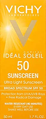 Vichy Capital Idéal Soleil Ultra-Light Face Sunscreen SPF 50, 1.7 Fl Oz