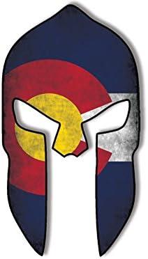 American Vinyl Casco Espartano en Forma angustiada Colorado la Etiqueta engomada de la Bandera: Amazon.es: Coche y moto