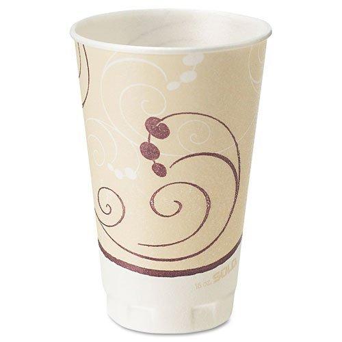 SOLO Cup Company X16J8002 Symphony Design Trophy Foam Hot/Cold Drink Cups- 16 oz.- Beige- 750 Cups/Carton