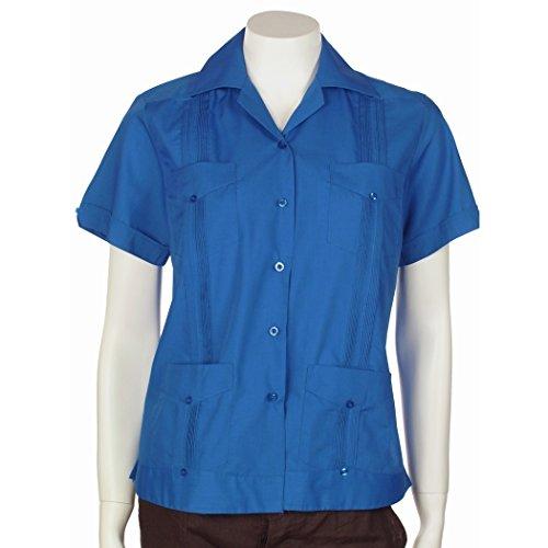 MYCUBANSTORE.COM Guayabera Shirt for Women Basic Style Polycotton Size:L Color:SKB Sky Blue