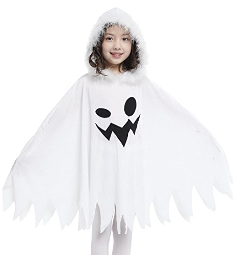 Jelord Kids Girl Halloween Costume White Ghost Hooded Cape Cosplay Outfits (3-4Y) ()
