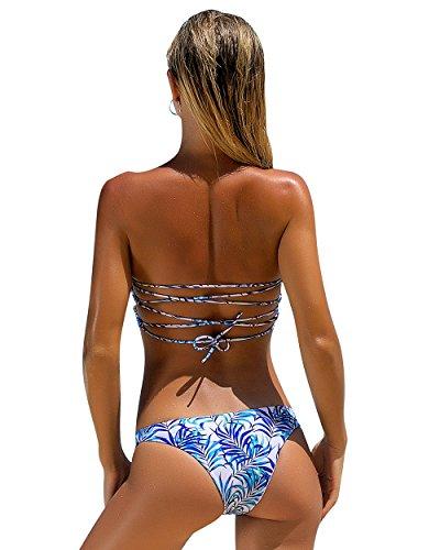 Strapless Bandage (OMKAGI Women Padded Push-Up Strapless Bikinis Bandage Floral 2 Pieces Swimsuits (M, Blue))