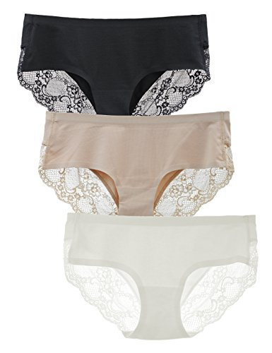 Liqqy Women's 3 Pack Cotton Lace Coverage Seamless Brief Panty (US M, Black/Nude/White)