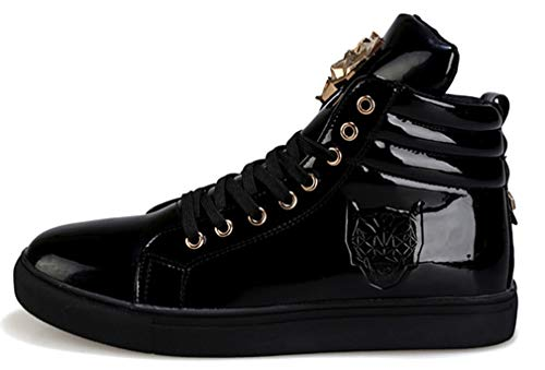 Femaroly High-top Skate Shoes Fashion Casual Sports Sneakers Walking Travel for Men and Boys Black 9M